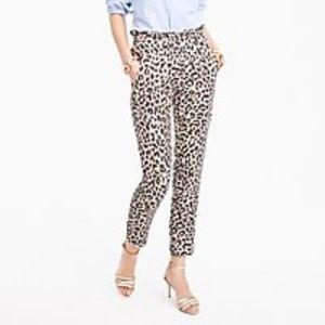 J. Crew 4 Ruffle Waist Linen Pant Leopard Print